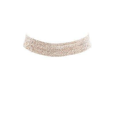 Multi-Crystal Chain Choker Necklace