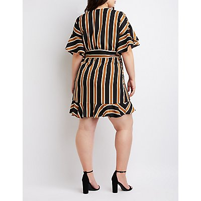Plus Size Striped Wrap Dresss