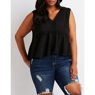Plus Size Crochet-Trim Babydoll Top