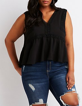Plus Size Crochet-Trim Babydoll Top