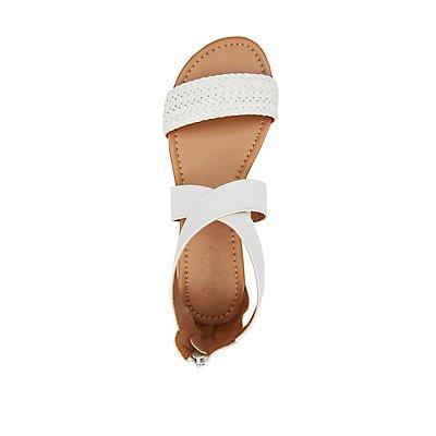 Braided Crisscross Flat Sandals