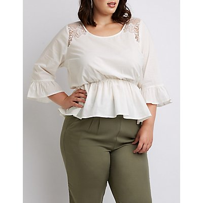 Plus Size Crochet-Trim Peplum Top