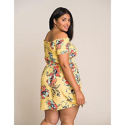 Plus Size Floral Off The Shoulder Skater Dress