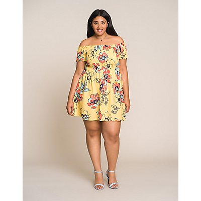 Plus Size Floral Off The Shoulder Skater Dress
