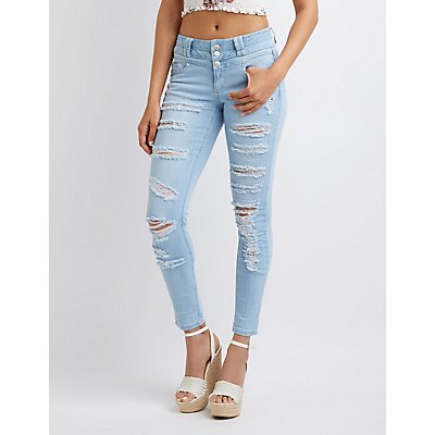 Destroyed High Waist Skinny Jeans