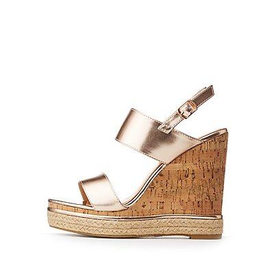 Slingback Cork Wedge Sandals