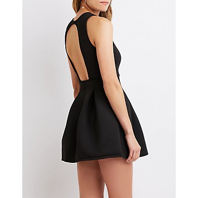 Scuba Knit V-Neck Skater Dress