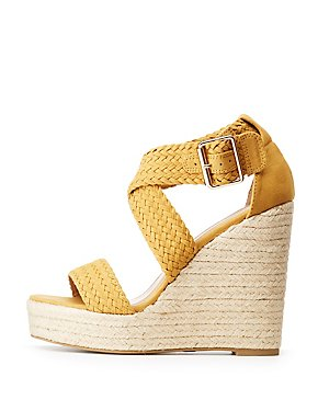 Braided Strappy Wedge Sandals