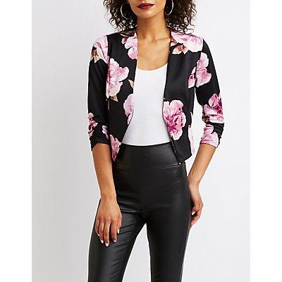 Floral Open-Front Blazer