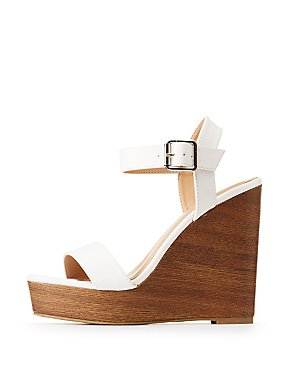 Bamboo Ankle Strap Wedge Sandals