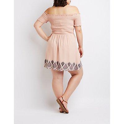 Plus Size Off-The-Shoulder Smocked Dress
