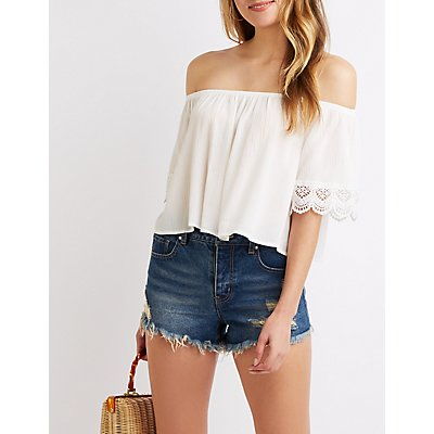 Crochet-Trim Off-The Shoulder Top