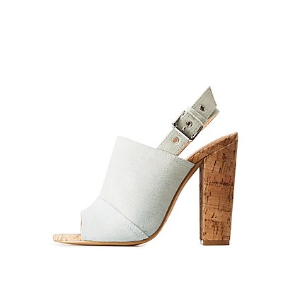 Denim Cork Mule Sandals