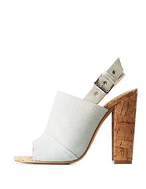 Denim Cork Mule Sandals