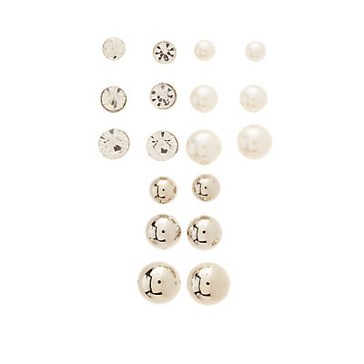 Embellished Stud Earrings - 9 Pack