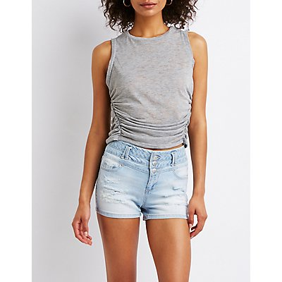 Destroyed Hi Waist Shortie Shorts