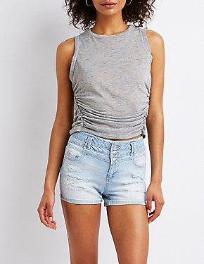 Destroyed Hi-Waist Shortie Shorts