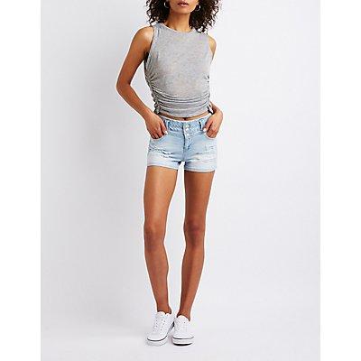 Destroyed Hi Waist Shortie Shorts