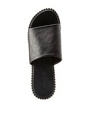 Metal Trim Slide Sandals