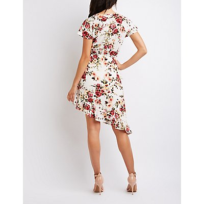 Floral Asymmetrical Wrap Dress