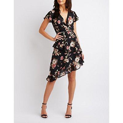Floral Asymmetrical Wrap Dress
