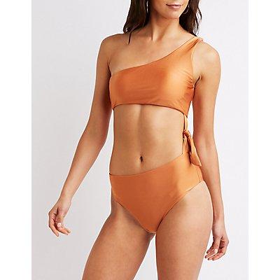 One Shoulder Side-Tie Bathing Suit