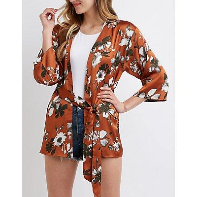 Floral Satin Tie Front Kimono
