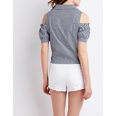 Gingham Cold Shoulder Button-Up Top