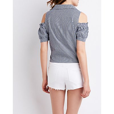 Gingham Cold Shoulder Button-Up Top