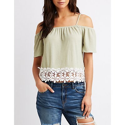 Crochet-Trimmed Cold Shoulder Top