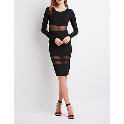 Ribbed Knit Mesh Midi Dress