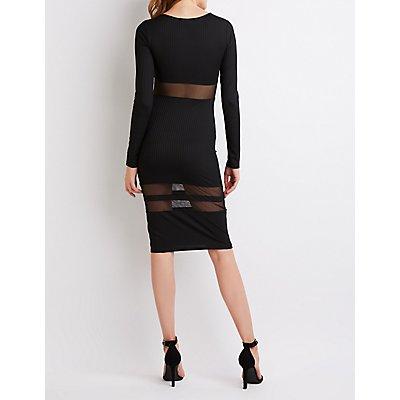 Ribbed Knit Mesh Midi Dress
