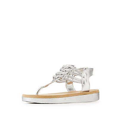 Bamboo Metallic Caged Sandal