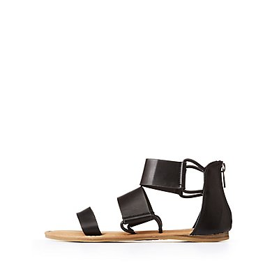 Bamboo Triple Strap Flat Sandals