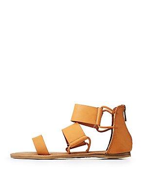 Bamboo Triple Strap Flat Sandals