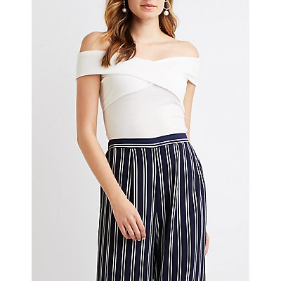 Ribbed Criss Cross Off-The-Shoulder Top