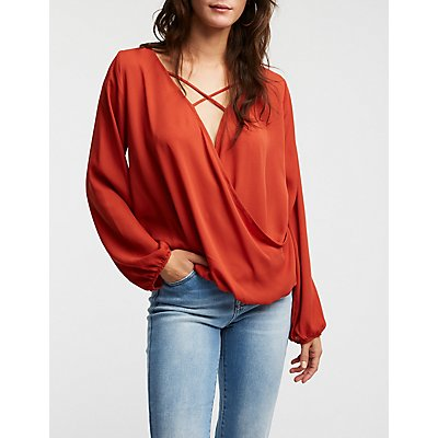 Caged Wrap Blouse