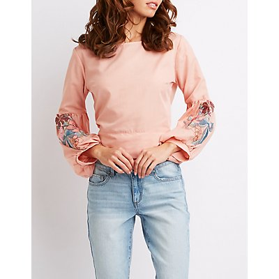 Embroidered Bow Detailed Bell Sleeve Top