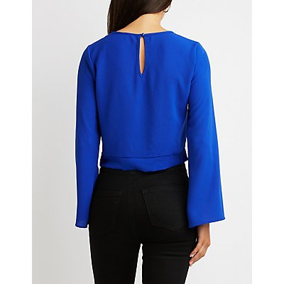 Front-Knot Bell Sleeve Crop Top
