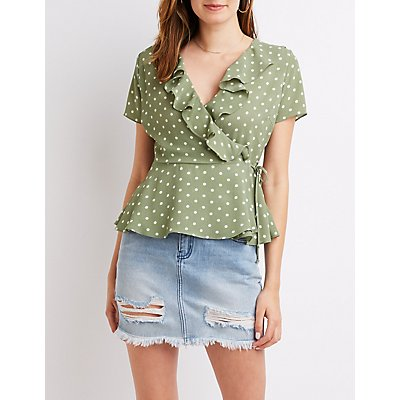 Polka Dot Ruffle Wrap-Tie Top