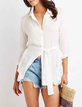 Ruffle Tie Front Button Up Top