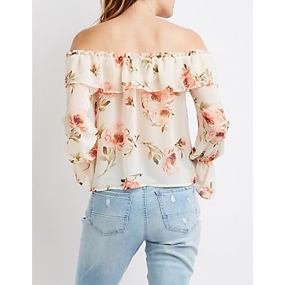 Floral Off-The-Shoulder Cropped Top