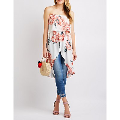 Floral Ruffle Hi-Low Tunic
