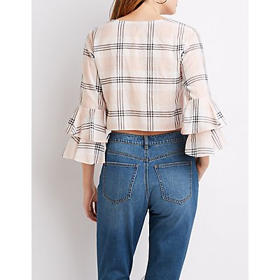 Plaid Bell Sleeve Crop Top