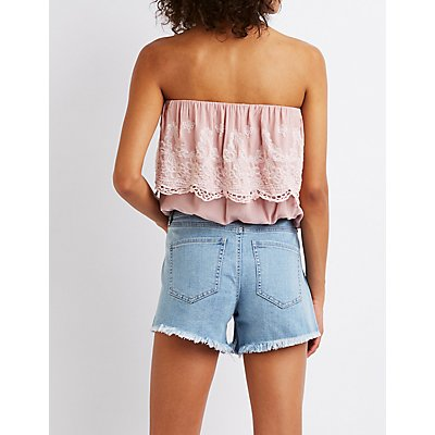 Embroidered Strapless Crop Top