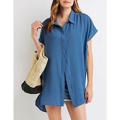 Button-Up High-Low Tunic