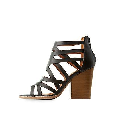 Qupid Caged Block Heel Sandals