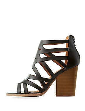 Qupid Caged Block Heel Sandals