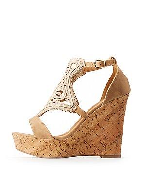 Qupid Macrame Cork Wedge Sandals
