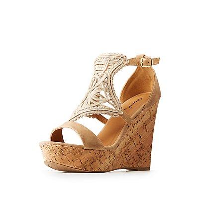 Qupid Cork Wedge Sandals